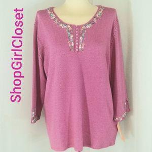 Sigrid Olsen Sport...Pink Sweater...Size 1x